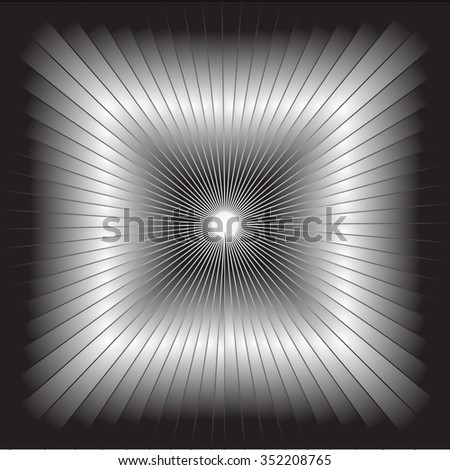 Illusion. Three-dimensional image stretching into the distance. Black-and-white gradient vector picture. - stock vector