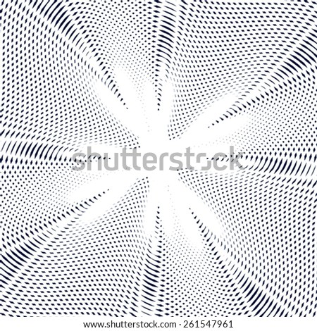 Illusive background with black chaotic lines, moire style. Contrast geometric trance pattern, optical backdrop.  - stock vector