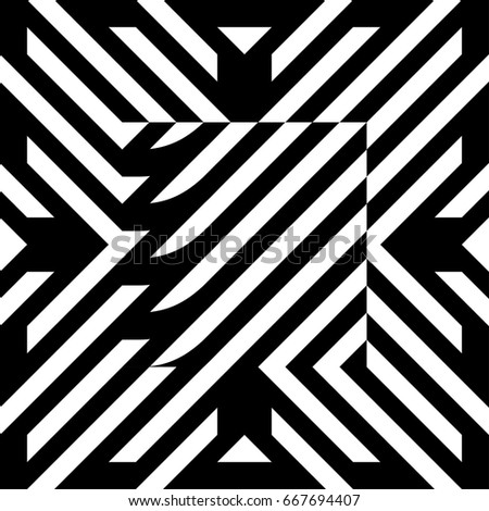 illusive tile with black white striped diagonal lines and abstract shape in center figurative element