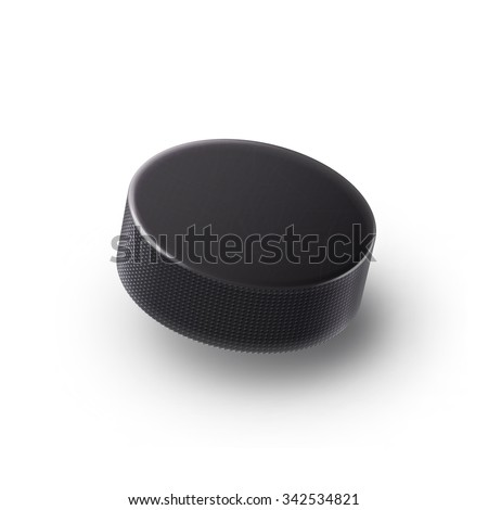 Illustartion of  Hockey puck isolated on white with shadow - stock vector