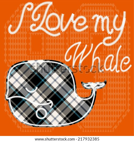 Illustraion vector of whale with patch. - stock vector