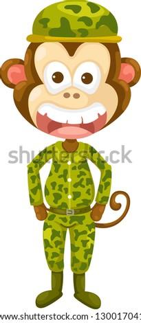 Illustraiton of monkey army vector - stock vector