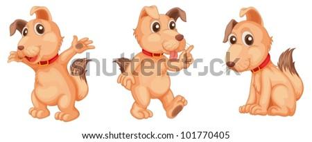 Illustraiton of pink dogs on white - stock vector