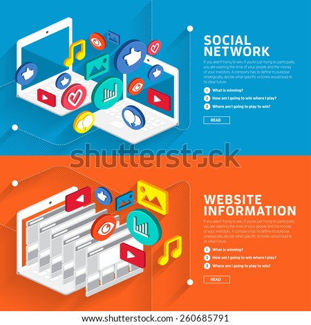 Illustrate style flat design about social network and website information style isometric 3d.Vector graphic. - stock vector