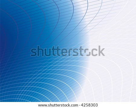 Illustrated abstract background with a blue twisted web grid - stock vector