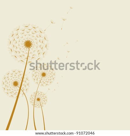 Illustrated abstract dandelion on a colored background. artwork - stock vector