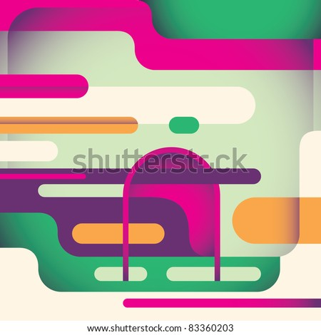 Illustrated abstract poster. Vector illustration. - stock vector