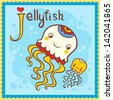 Illustrated alphabet letter J and jellyfish. - stock vector