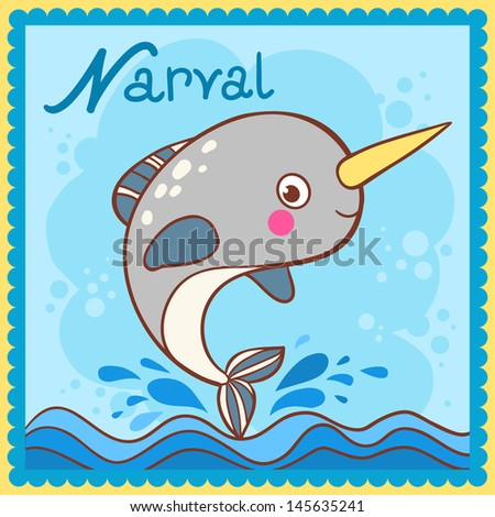 Illustrated alphabet letter N and narval.