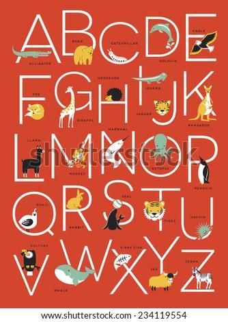 Illustrated Animal Alphabet Poster Design