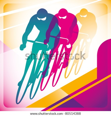 Illustrated bicycle driving background in color. Vector illustration. - stock vector