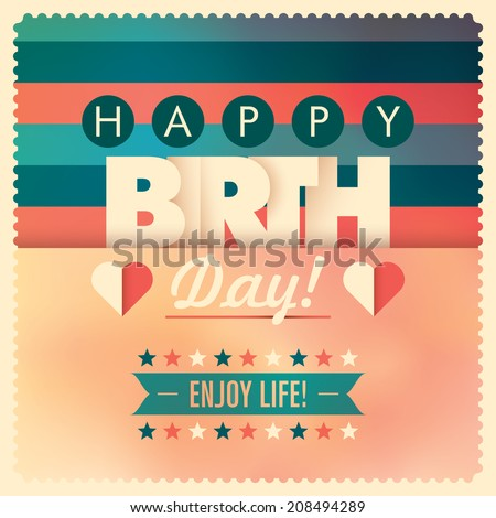 Illustrated birthday card in color. Vector illustration. - stock vector