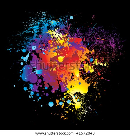 illustrated Brightly colored rainbow ink splat black background - stock vector