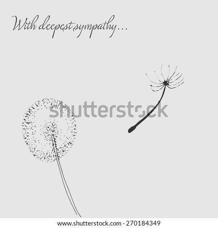 Illustrated card design for condolences and sympathy showing dandelion on the wind