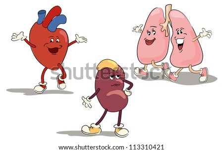 illustrated character set of human internal organs 1 - stock vector