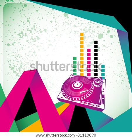 Illustrated clubbing banner with turntable. Vector illustration.