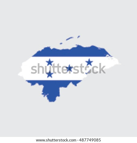Illustrated Country Shape with the Flag inside of Honduras