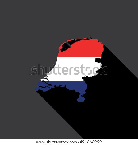 Illustrated Country Shape with the Flag inside of Netherlands