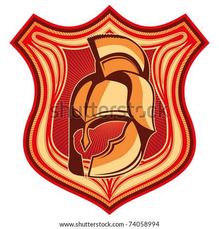 Illustrated crest with old helmet. Vector illustration. - stock vector