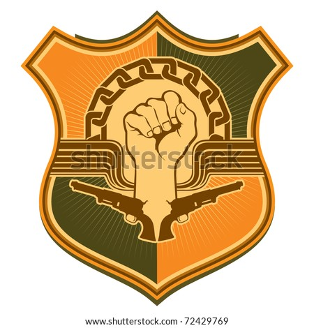 Illustrated crest with strong fist. Vector illustration. - stock ...