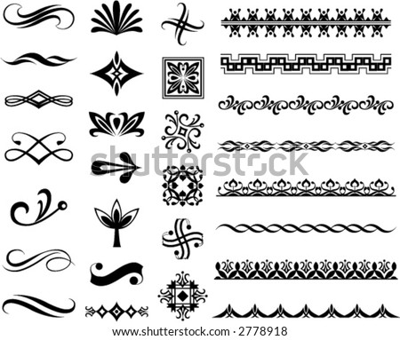 illustrated decorative designs and icons
