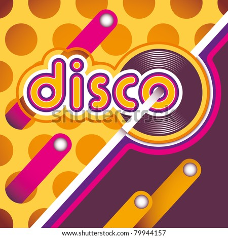 Illustrated disco background in color. - stock vector