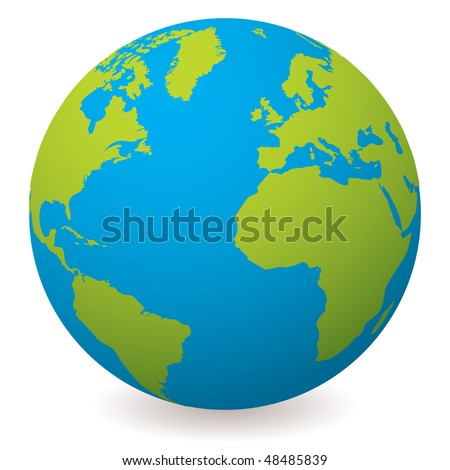 Illustrated earth globe in realistic land and ocean colours - stock vector