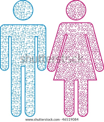 Illustrated Female and Male symbols - stock vector