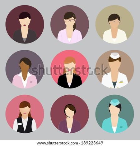 Illustrated female flat profiles. - stock vector