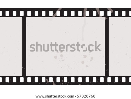 Illustrated film strip with grunge concept and dirty splats - stock vector