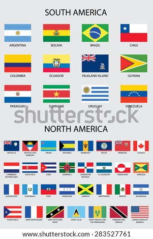 Illustrated Flags from the continent of America - stock vector