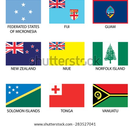 Illustrated Flags from the continent of Oceania - stock vector
