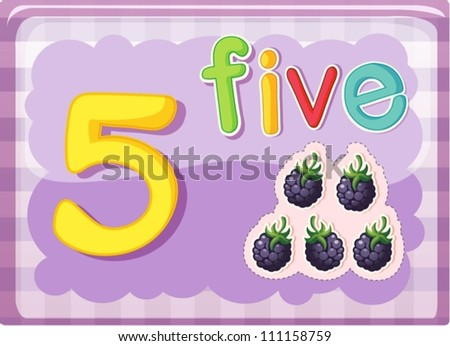 Illustrated flash card showing the number 5 - stock vector