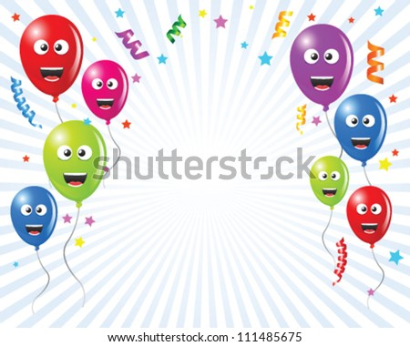 Illustrated for kids this is a custom greeting card with balloons as comic characters and confetti - stock vector