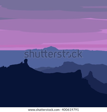 illustrated Gran Canaria - view after sunset from Pico de Las Nieves, Roque Nublo, Roque Bentayga and Teide on Tenerife visible - stock vector