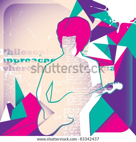 Illustrated guitar player. Vector illustration. - stock vector