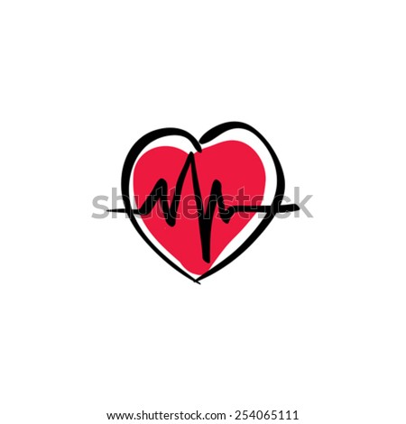 Illustrated heart with ecg / ekg, vector cardiology icon, hand drawn electrocardiogram. - stock vector