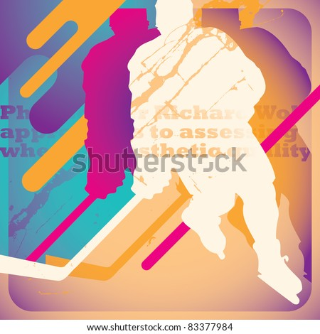 Illustrated hokey poster. Vector illustration. - stock vector
