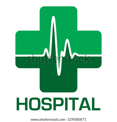 Illustrated hospital icon in green with heart beat - stock vector