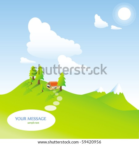 illustrated landscape on a beautiful summer day - stock vector