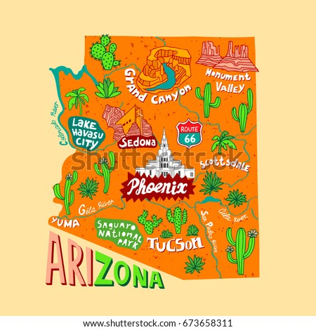 Illustrated Map Arizona Usa Travel Attractions Stock Vector - Arizona map of usa
