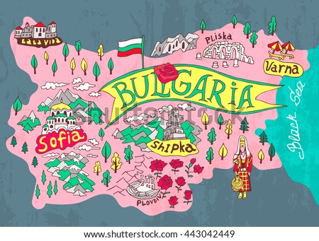 Illustrated map of Bulgaria. Travels - stock vector