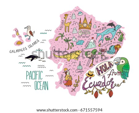 Illustrated Map Ecuador Galapagos Islands Vector Stock Vector