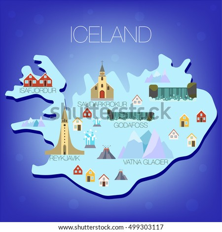 Illustrated map iceland trave attraction iceland stock vector illustrated map of iceland trave attraction iceland tourist map attractions map of iceland sciox Gallery