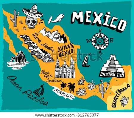 illustrated map mexico main attractions stock vector hd royalty free 312765077 shutterstock