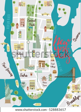 Illustrated Map New York City Travel Stock Vector - Ney york map