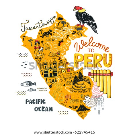 Illustrated map peru vector illustration all stock vector illustrated map of peru vector illustration with all main tourist attraction of the country sciox Gallery