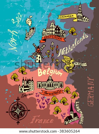 illustrated map netherlands belgium luxembourg stock vector hd royalty free 383605264 shutterstock