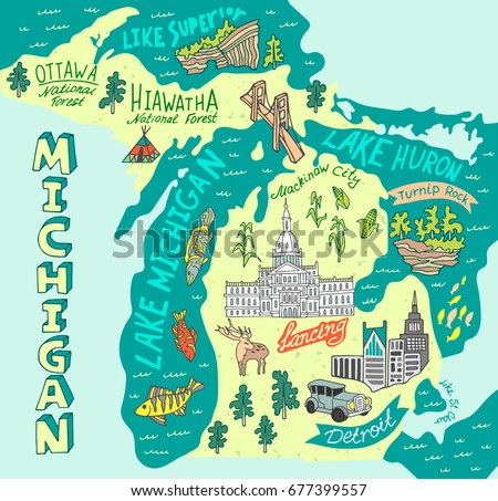 Illustrated Map State Michigan Usa Travel Stock Vector - Map of the state of michigan