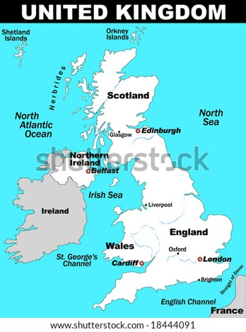 Illustrated Map of the United Kingdom - stock vector